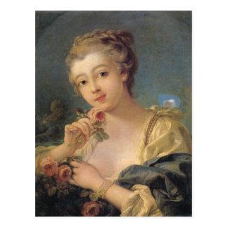 Carte Postale Jeune femme avec un bouquet des roses