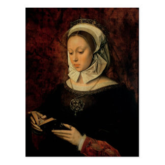 Carte Postale Jeune femme lisant un livre des heures (huile sur