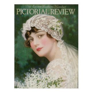 Carte Postale Jeune mariée vintage de Pâques