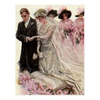 Carte Postale Jeunes mariés victoriens vintages de cérémonie de
