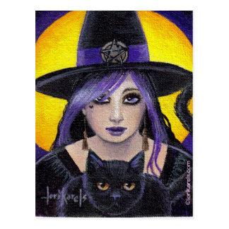 Carte Postale Jeunes sorcière et chat