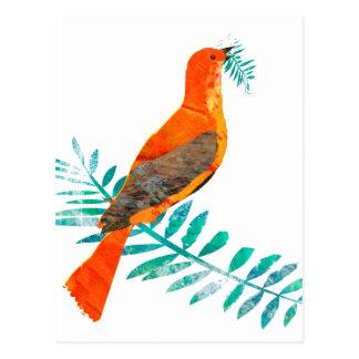 Carte Postale Joli oiseau de rouge de paix de branche verte