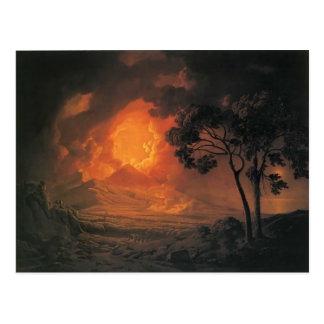 Carte Postale Joseph Wright une éruption du mont Vésuve