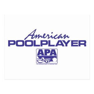 Carte Postale Joueur américain de piscine - bleu
