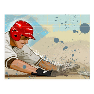 Carte Postale Joueur de baseball glissant dans la base
