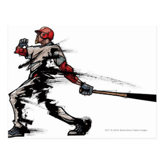 Carte Postale Joueur de baseball tenant la batte, vue de côté