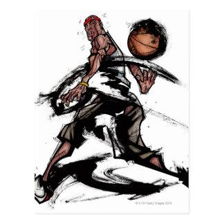Carte Postale Joueur de basket jouant avec le basket-ball