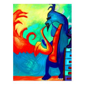 Carte Postale Joueur de saxophone de dragon