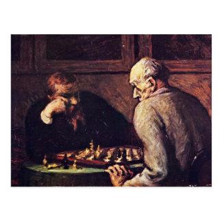 Carte Postale Joueurs d'échecs par Daumier Honoré