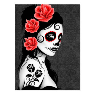 Carte Postale Jour de la fille morte de crâne de sucre - gris