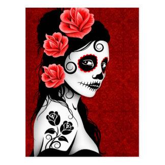 Carte Postale Jour de la fille morte de crâne de sucre - rouge