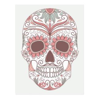 Carte Postale Jour du crâne coloré mort avec floral