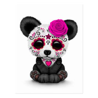 Carte Postale Jour rose du panda mort de crâne de sucre sur le