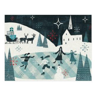 Carte Postale Joyeuse scène de patinage de Christmastime