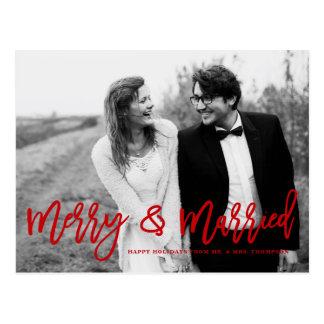 Carte Postale Joyeuses et mariées vacances en lettres de mariage