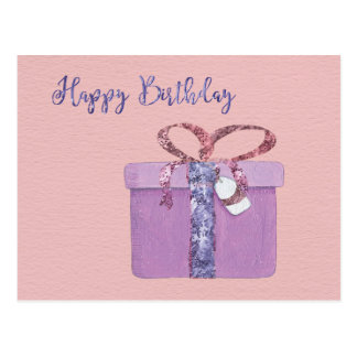 Carte Postale Joyeux anniversaire actuel sur le rose