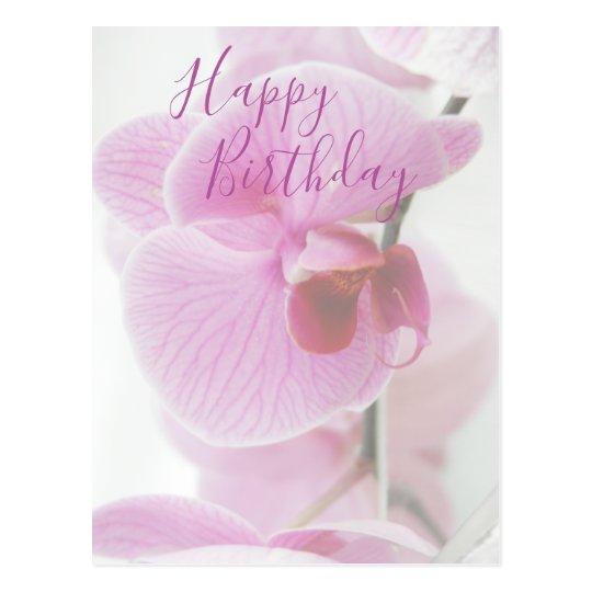 Carte Postale Joyeux Anniversaire Rose De L Orchidee Zazzle Fr