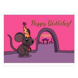 Carte Postale Joyeux anniversaire - souris