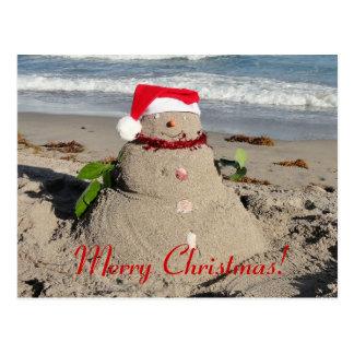 Carte Postale Joyeux Noël ! bonhomme de neige de marchand de