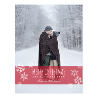 Carte Postale JOYEUX NOËL de flocons de neige