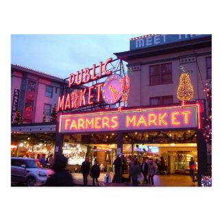 Carte Postale Joyeux Noël de marché d'endroit de Seattle Pike