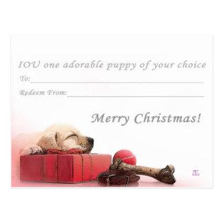 Carte Postale Joyeux Noël I.O.U un chiot