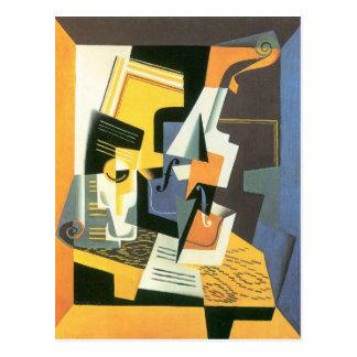 Carte Postale Juan Gris - violon et verre