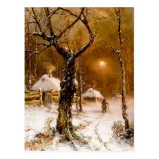 Carte Postale Jules Klever : Promenade de nuit d'hiver