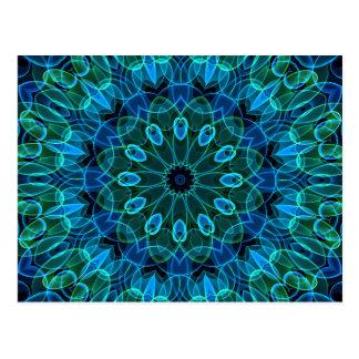 Carte Postale Kaléidoscope de gemmes de vert bleu