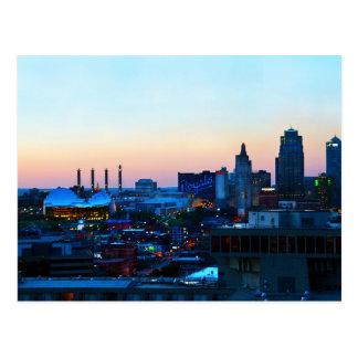 Carte Postale Kansas City du centre, Missouri, au coucher du