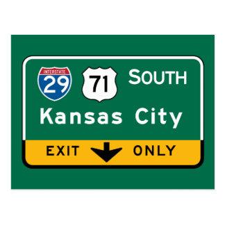 Carte Postale Kansas City, panneau routier de KS