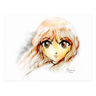 Carte Postale Kawaii de yeux de croquis de fille d'Anime de