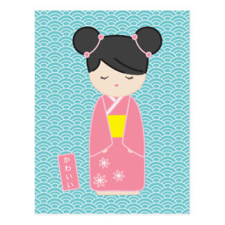 Carte Postale Kawaii Kokeshi rose