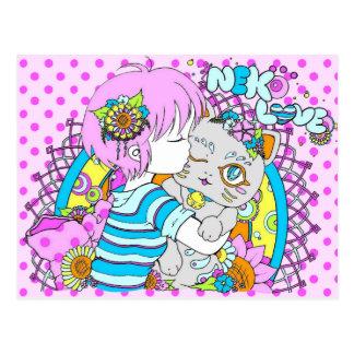 Carte Postale Kawaii neko chat flower manga