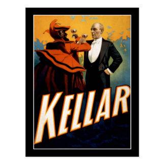 Carte Postale Kellar - magicien - affiche vintage de théâtre
