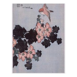 Carte Postale Ketmie et moineau par Katsushika Hokusai
