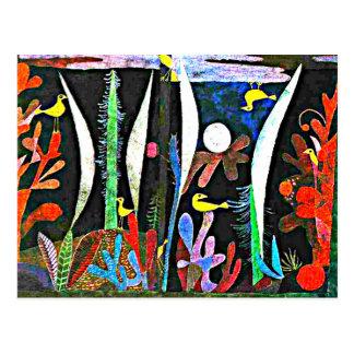 Carte Postale Klee - paysage avec les oiseaux jaunes