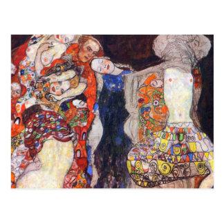 Carte Postale Klimt ornent la jeune mariée avec le voile et la