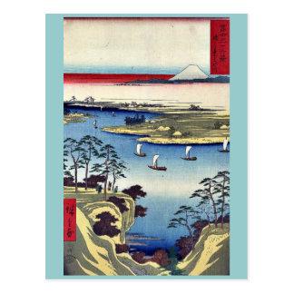 Carte Postale Konodai et rivière de ton par Ando, Hiroshige