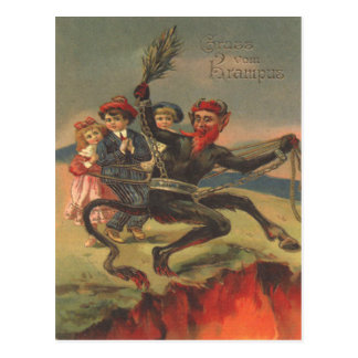 Carte Postale Krampus portant de mauvais enfants à l'enfer