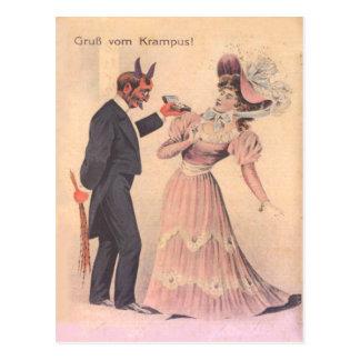Carte Postale Krampus proposant à la femme