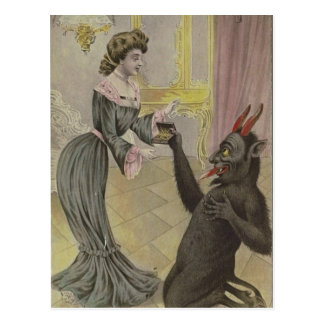 Carte Postale Krampus trouve l'amour