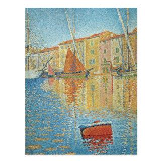 Carte Postale La balise rouge par Paul Signac, Pointillism