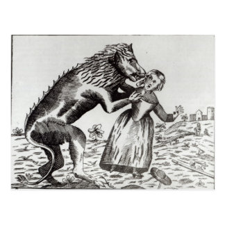 Carte Postale La bête de Gevaudan attaquant une jeune fille