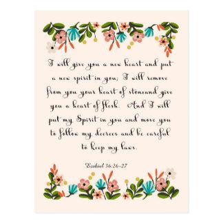 Carte Postale La bible exprime l'art en vers - 36:26 d'Ezekiel -