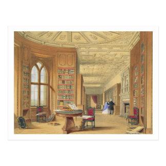 Carte Postale La bibliothèque, château de Windsor, 1838 (litho