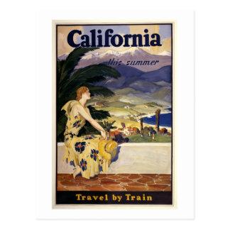 Carte Postale La Californie cet été. Voyage par chemin de fer