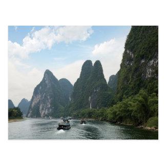 Carte Postale La Chine, Guilin, rivière de Li, bateaux rayent