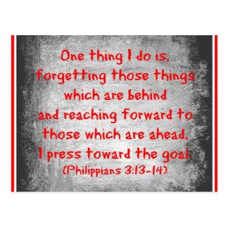 Carte Postale La chose du vers un de bible de Philippiens que je