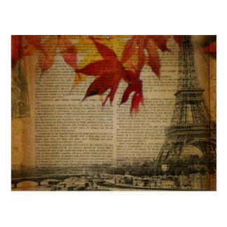 Carte Postale la chute laisse Tour Eiffel vintage de Paris